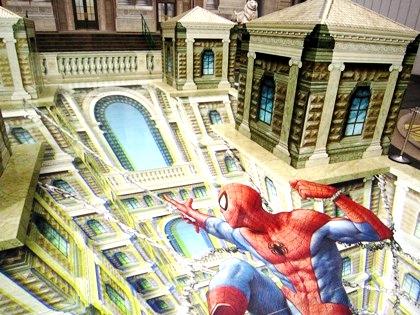 スパイダーマンのトリックアート